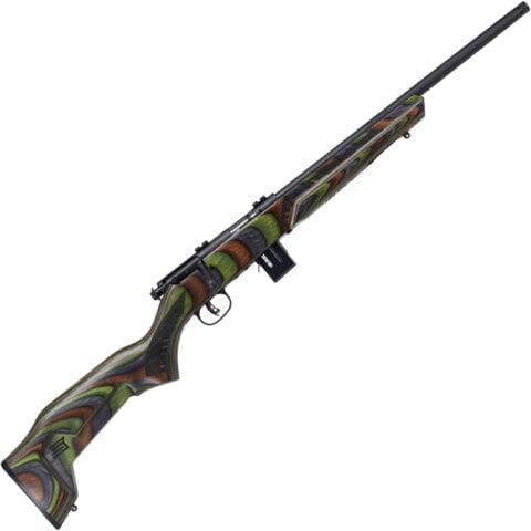 "Savage Model 93R17 Minimalist .17 HMR Bolt Action Rimfire Rifle 18"" Threaded Barrel 10 Rounds Green Minimalist Laminate Stock Black Finish"
