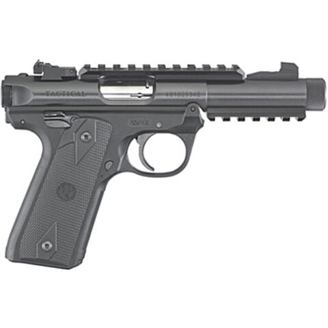 """Ruger Mark IV 22/45 Tactical .22 LR Semi Auto Pistol 4.40"""" Threaded Barrel 10 Rounds Adjustable Rear Sight Picatinny Rails Alloy Frame Synthetic Grips Black"""