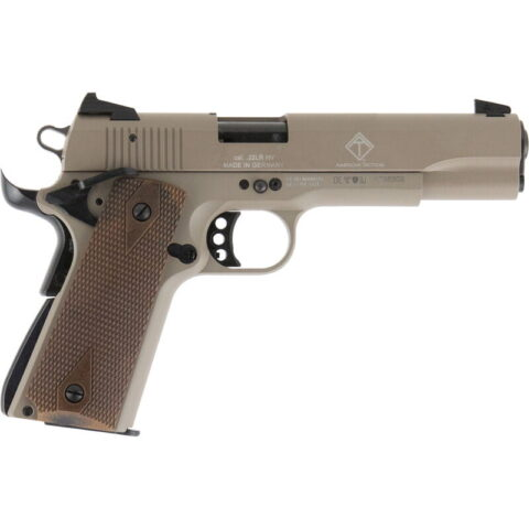 """American Tactical Imports GSG 1911 Semi Automatic Pistol 22 LR 5"""" Barrel 10 Rounds Alloy Frame Wood Grips Tan"""