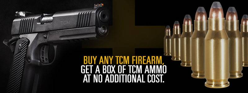 Win big in 2017.  Buy any TCM Firearm in 2017 and get a box of TCM ammo at no additional cost.